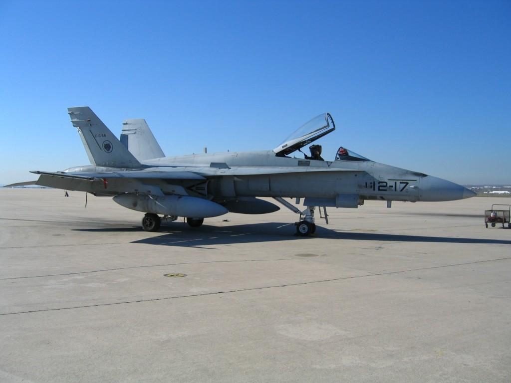 Foto: F-18 del ALA-12 de la Base Aérea de Torrejón de Ardóz en Madrid. LMC