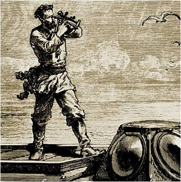 Grabado de Alphonse de Neuville que representa al Capitán Nemo usando un sextante