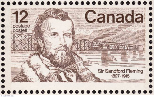 Imagen de un sello conmemorativo del ingeniero canadiense Sir Sandford Fleming
