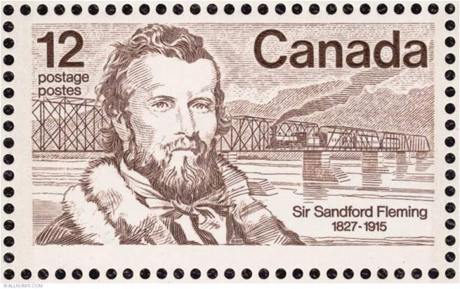 Imagen de un sello conmemorativo del ingeniero canadiense Sir Sandford Fleming
