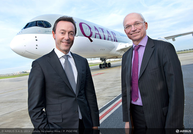 Airbus President and CEO Fabrice Brégier (left) and Executive Vice President Head of Programmes Didier