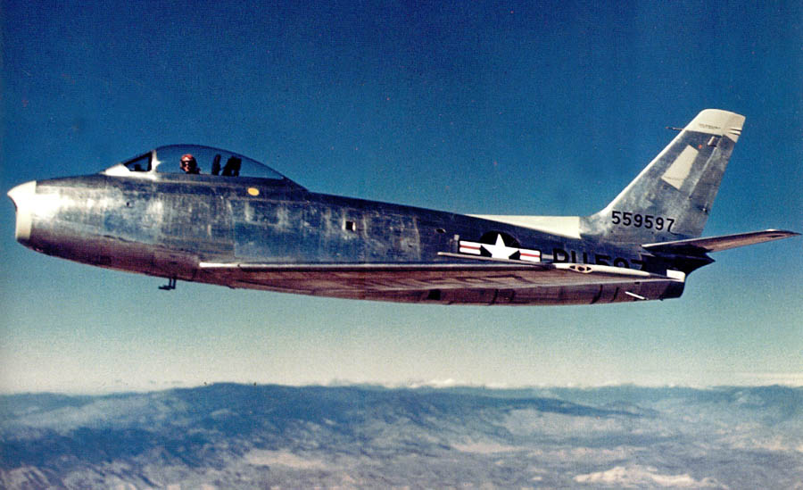 Test Pilot George Welch flying the prototype North American Aviation XP-86 Sabre, 45-59597. (U.S. Air Force)