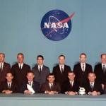 Back row, from L-R: Swigert, Pogue, Evans, Weitz, Irwin, Carr, Roosa, Worden, Mattingly, Lousma. Front row, from L-R: Givens, Mitchell, Duke, Lind, Haise, Engle, Brand, Bull, McCandless
