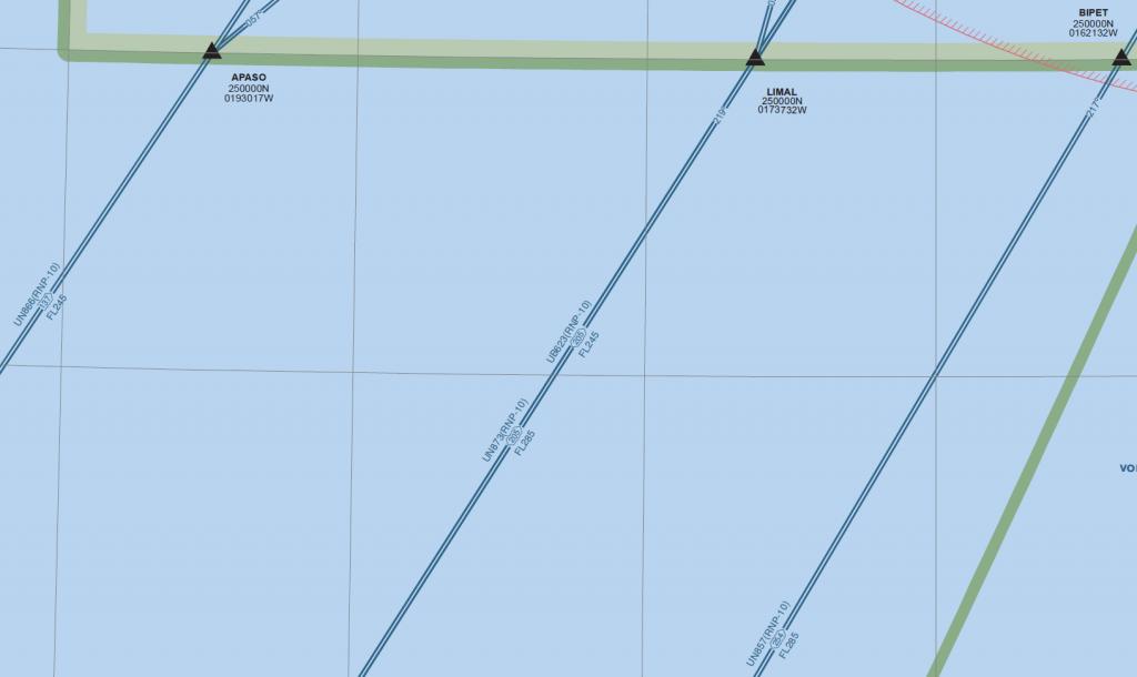 Rutas ATS del corredor EUR-SAM en el FIR Canarias basadas en RNAV 10 (RNP 10) (Fuente: AIP España)