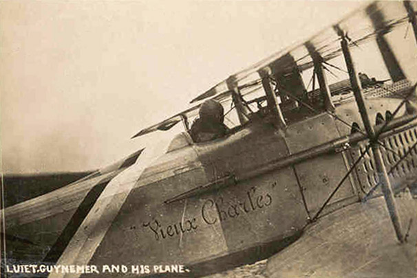 Guynemer en su 'Vieux Charles', el SPAD de matrícula S.113. www.earlyaeroplanes.com