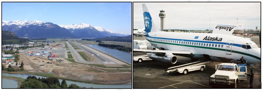 Izquierda: vista aeropuerto de Juneau. (fuente: http://www.travishbrown.com/alaska) Derecha: Boeing 737-200 de Alaska Airlines. (Fuente: Flickr)
