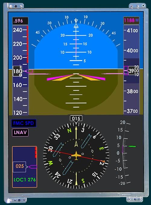 Moderna pantalla de cabina de vuelo (Nótese que la distribución de la información sigue el criterio de la T Básica)