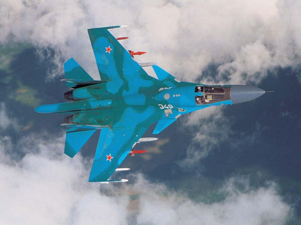 'El camuflaje en boga de los aviones rusos. Este Sukhoi se identifica como perteneciente a la Fuerza Aérea rusa sólo con verlo