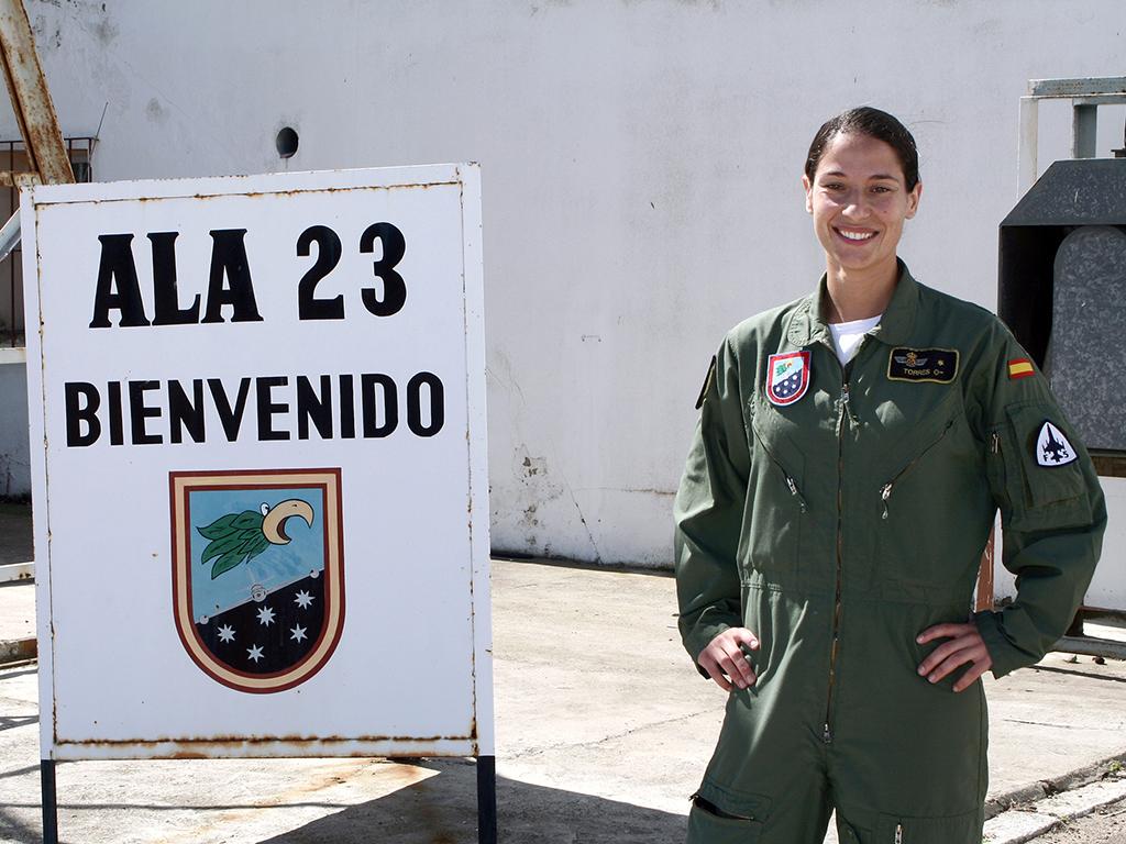 Rocío González Torres como Alférez durante su paso por el Ala 23. (Ministerio de Defensa).