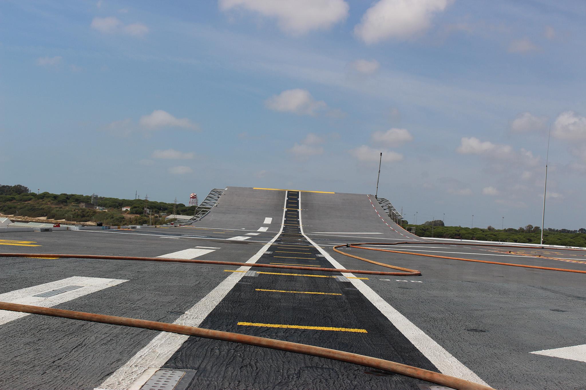 Detalle de la cubierta de vuelo y sky jump. Fuente: Hispaviación