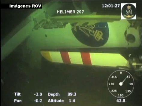 Imagen del ROV durante la localización en el fondo del mar del helicóptero Helimer 207 de S. Marítimo