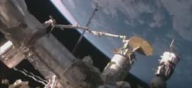 Momento de la llegada y atraque de la cápsula Cygnus a la Estación Espacial Internacional. Image Credit: NASA TV