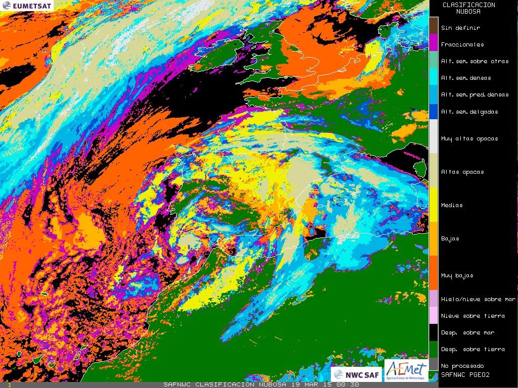 Imagen de satélite. Clasificación de tipos de nubes (Fuente AEMET)