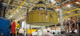 El 13 de Enero, los técnicos en la Instalaciones de Montaje de Michoud en Nueva Orleans, terminaron la soldadura de la estructura principal de la nave espacial Orión. Image Credit: NASA