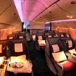 Interior del Boeing 777-200LR cabina de Business Class de Qatar Airways
