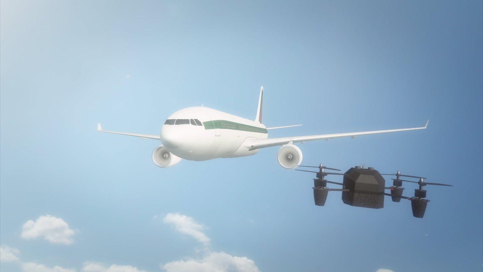 Simulación de un dron en un entorno de aeropuerto comercial
