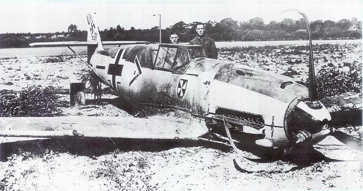 Estado en el que quedó el avión de Von Werra tras aterrizar de emergencia en suelo británico