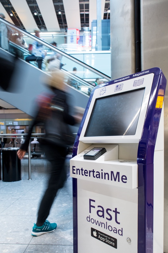Quiosco digital EntertainMe de Heathrow