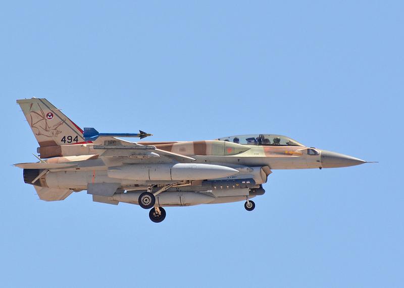 F-16i de la Fuerza aérea Israelí regresando de una misión