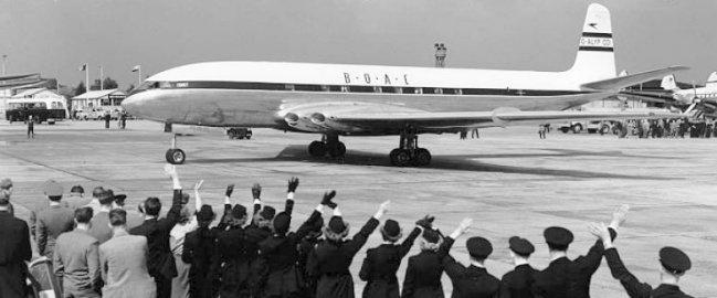 Primer vuelo del Comet desde Londres a Johannesburgo en Mayo de 1952