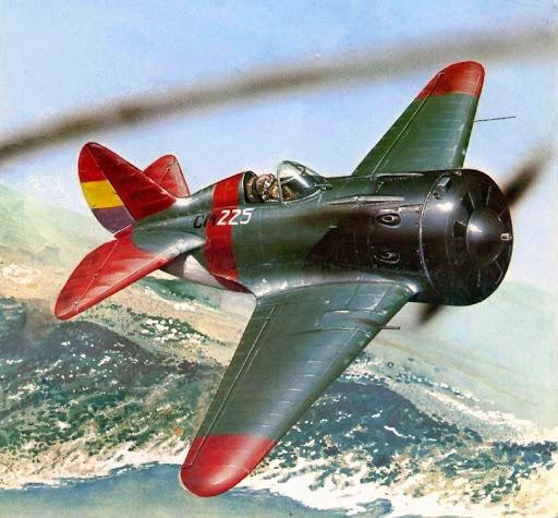 Portada de un libro de Osprey antiguo sobre la guerra aérea. Polikarpov I-16 Mosca
