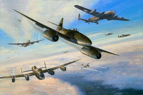 Ilustración de Me-262 atacando una formación de Avro Lancasters en Marzo de 1945