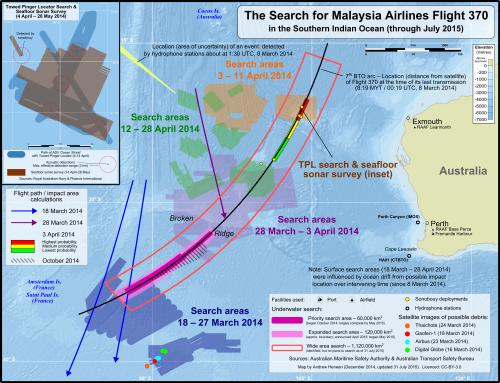 Fuente: Wikipedia. Área de búsqueda del vuelo MH-370.