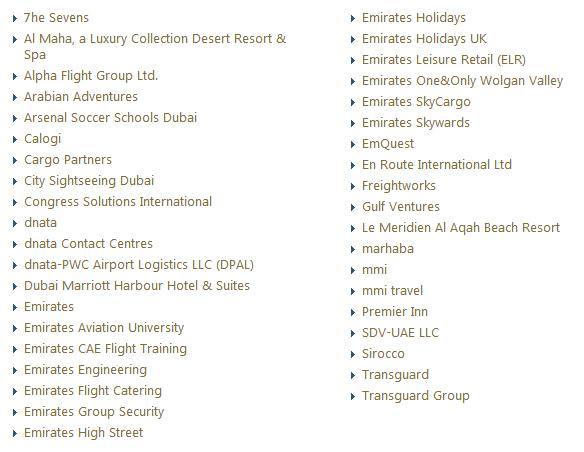 divisiones grupo emirates