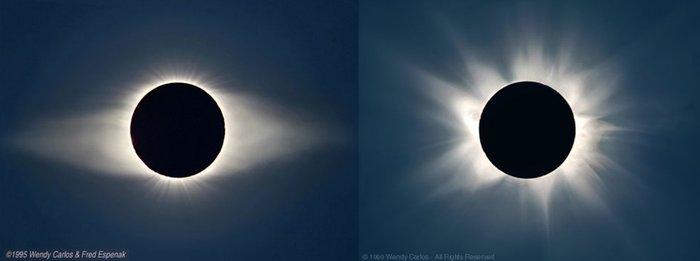 Corona solar vista durante eclipses terrestres. Copyright Wendy Carlos & Fred Espenak (ESA)