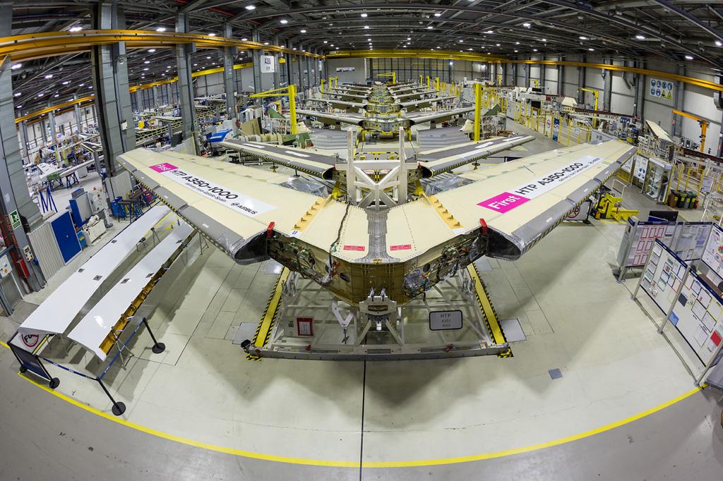Línea de montaje del A350. Foto: © AIRBUS por Pablo Cabello