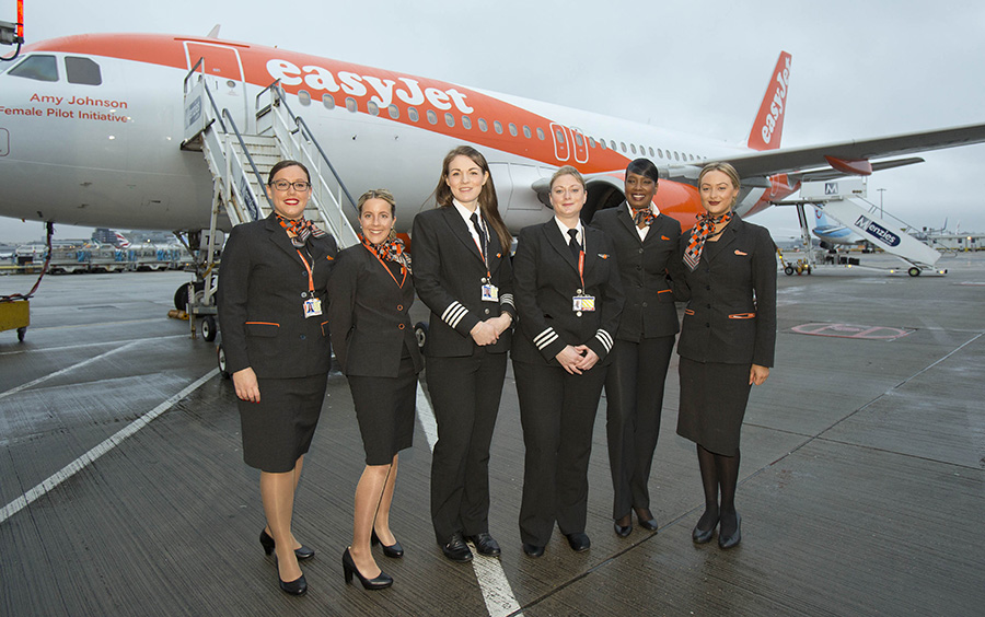 International Women's Day Easyjet celebrates the day with an all female flight and ground operating crew. Captain Kate McWilliams, 27 - worldÕs youngest female commercial Captain First officer Sue Barrett Cabin Manager Laura Marks Cabin crew Natasha Baker, Charlotte Carr and Nuria Belda Marco.