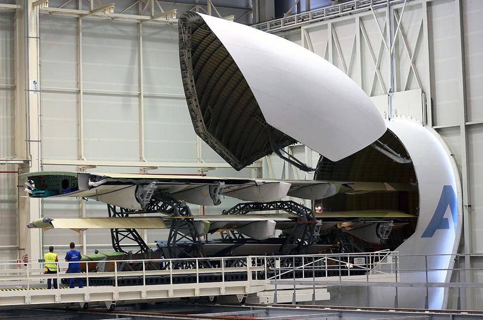 Foto: El Beluga con las puertas cerradas sirviendo grandes módulos en San Pablo (Airbus)