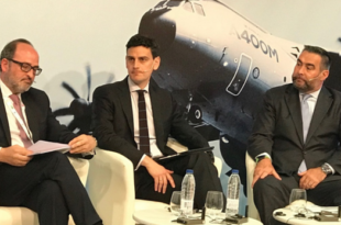 Jaime de Rábago, Presidente de TEDAE, junto a Juan Ignacio Castro, de Airbus Defence & Space, y Sébastien Renouard, de Altran en el ADM 2018.