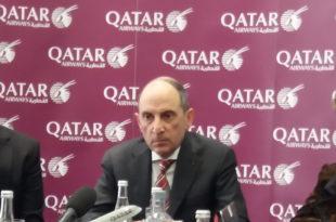 """Al Baker en la rueda de prensa en Madrid durante las jornadas """"Wings Of Change Europe 2018"""" de la IATA."""