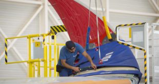 Instalación del winglet en un Airbus A350-900