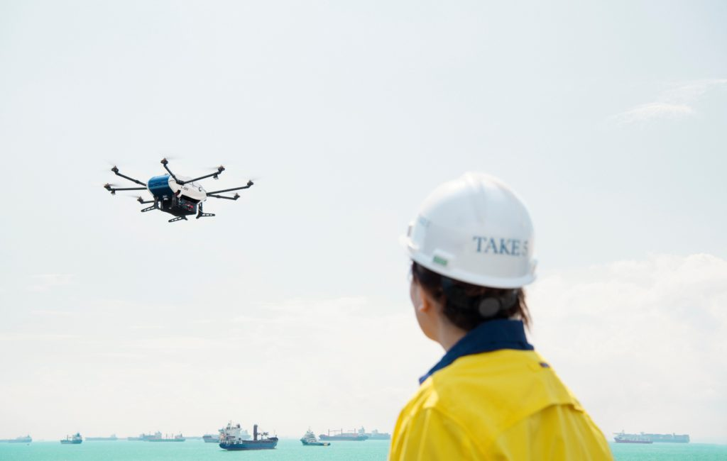 Airbus Skyways drone flying to vessel©Wilhelmsen