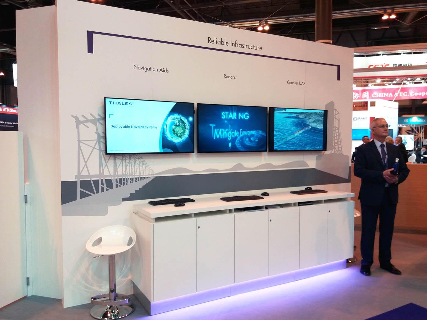 Ayudas a la navegación, radares y counter UAS dentro del estand de Thales en World ATM Congress 2019.