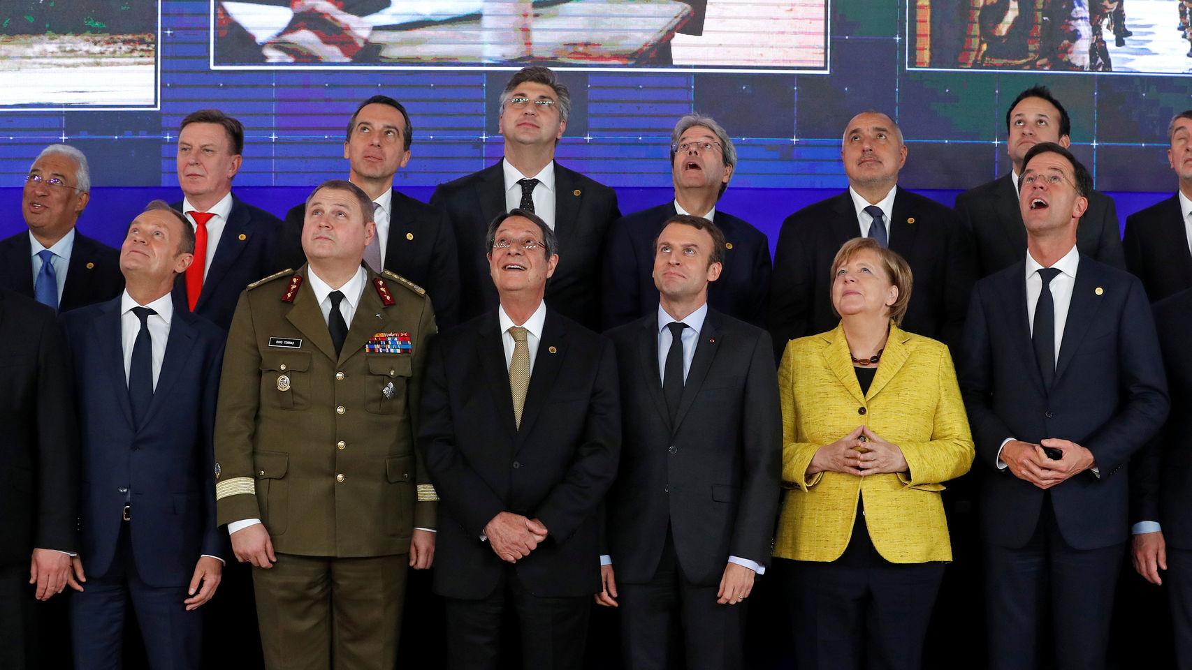 Líderes europeos durante el lanzamiento de la PESCO. Foto: Yves Herman/Reuters