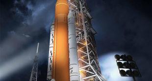 Concepto artístico del cohete SLS y la nave Orión. Image Credit: NASA SLS