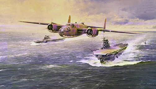 Dibujo del primer B-25 despegando del Hornet camino de Tokio